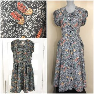 Vintage Butterfly Print 40's/50's Day Dress